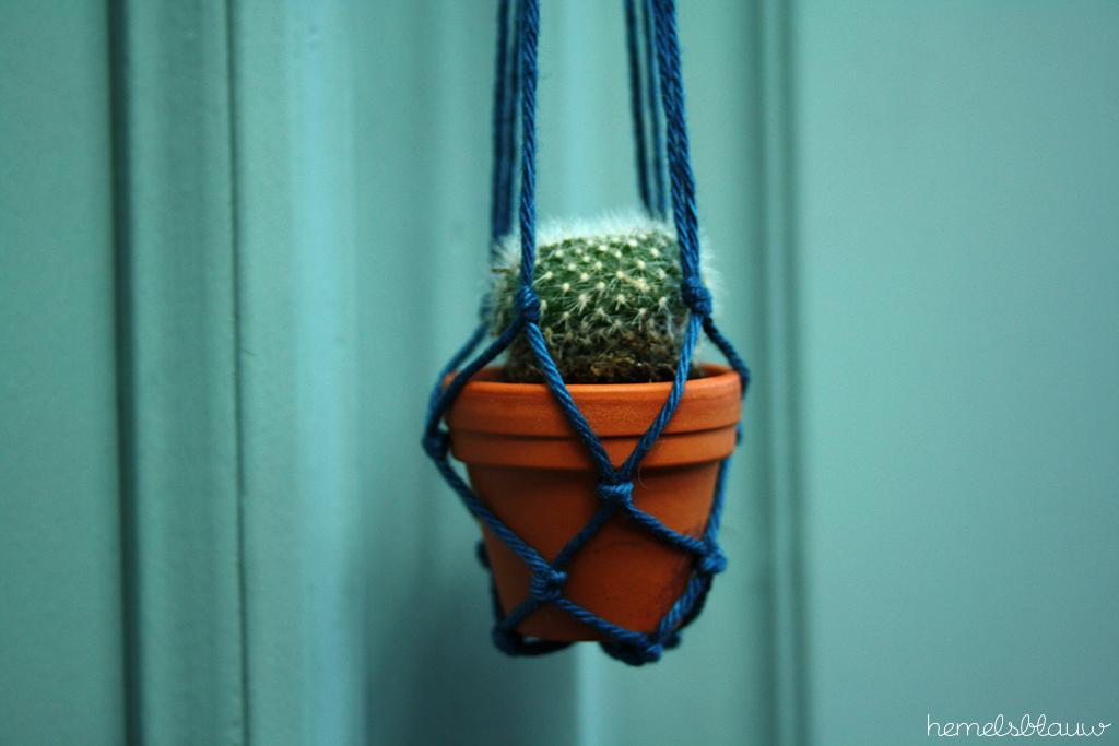 DIY mini plantenhanger hemelsblauw